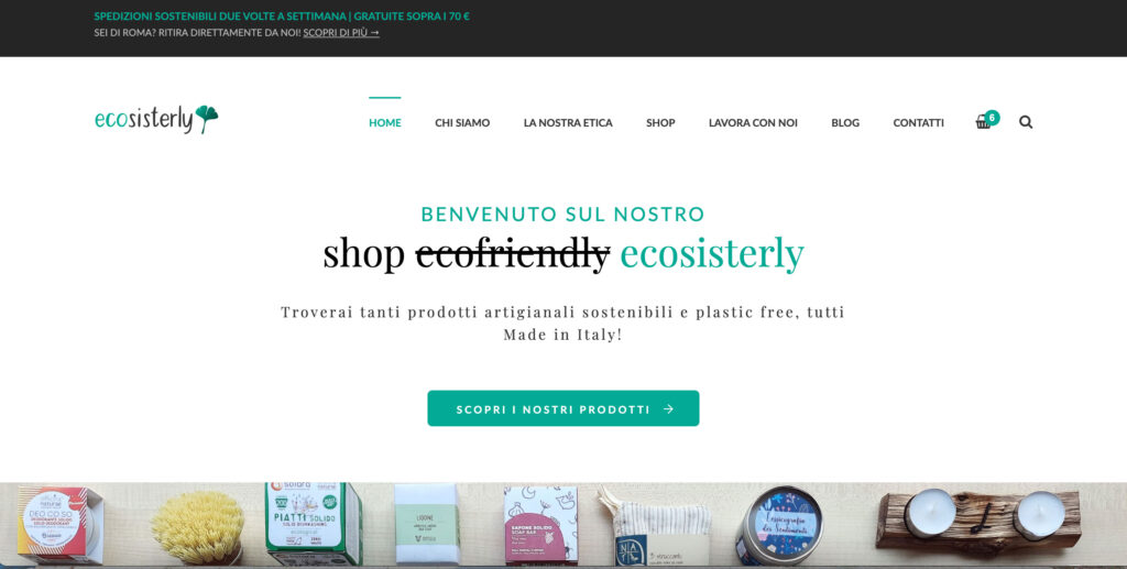 Ecosisterly.com shop plastic free, low waste e made in Italy